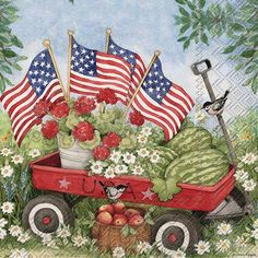 Fourth Of July Decor, 4th Of July Decorations, July 4th, Americana Decorations, 4th Of July Images, Patriotic Pictures, Beverage Napkins, Cocktail Napkins, Little Red Wagon