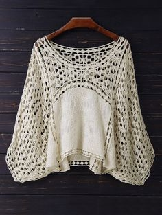 $23.99 Crochet Dolman Top - BEIGE ONE SIZE