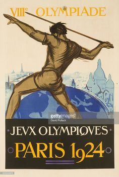 Paris Summer Olympics Poster showing Javelin throwing athlete. Illustrated by Orsi.