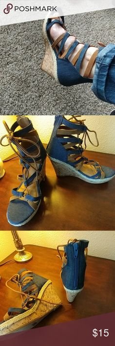 Denim lace up wedges Bring on spring! NWOT Cute denim lace up wedges, zip up heel, cork wedges, rope type material all around,will be perfect finishing touch on your spring, beach or nautical outfit. By etc! Size 7/8. Heel approximately 4 inches. etc! Shoes Wedges