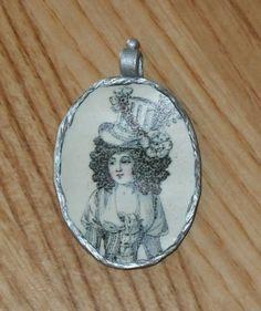 18th Century Woman Portrait Pendant