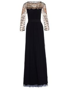 Black Silk Embroidery Gown | Temperley London | Avenue32