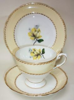 Tuscan-Art-Deco-English-Vintage-China-Tea-cup-Saucer-Teaplate