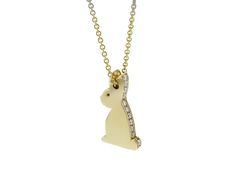 The solid gold Lucky Bunny with diamonds, to bring luck and laughter to the wearer.