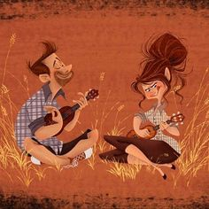This piece was inspired by my husband. He was teaching me how to play the ukulele the first song he taught me was Postcards from Italy by Beriut. Needless to say it was a bit frustrating but so much fun! It's a beautiful instrument! by burnmehappy Ukulele Art, Ukulele Chords, Storyboard, Ukulele Design, Postcards From Italy, Character Art, Character Design, House Illustration, Song One