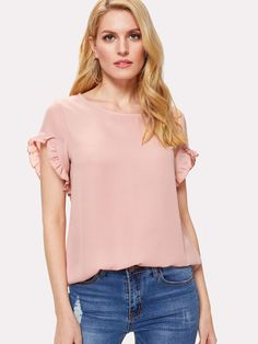 Ruffle Trim Sleeve Solid Top -SheIn(Sheinside)