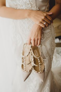 "A stunningly studded pair of pointy toed Valentino bridal shoes // ""I understand that marriage is a discipline and love is a choice, so to my best friend, I love you and vow to always choose to love you both unconditionally and without hesitation, all the days of our lives."" ~ Cheryl"
