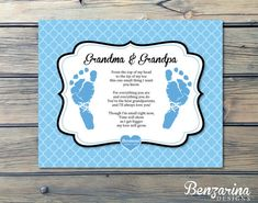 Love this - Newborn foot print and poem for new grandparents!