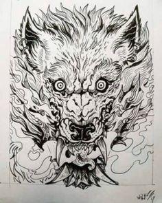 fenrir card by TheWolfMaria on DeviantArt Fenrir Tattoo, Oni Tattoo, Doodle Tattoo, Norse Tattoo, Dark Tattoo, Viking Tattoos, Blackwork, Oni Art, Wolf Girl Tattoos