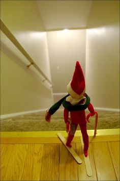 Elf on the Shelf idea - skiing Elf