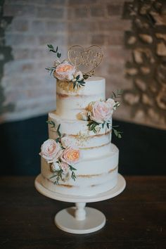 Semi Naked Wedding Cake with Blush Pink Rose Decor Pastel Pink Mint Green Wedding at Granary Estates Suffolk Julia You Photography Naked Wedding Cake, Blush Wedding Cakes, Wedding Cake Roses, Blush Pink Weddings, Wedding Cake Rustic, Wedding Cakes With Flowers, Wedding Cupcakes, Roses On Cake, Cake With Flowers