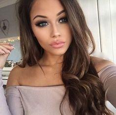 beautiful smokey eyes, nude lips, contour, make up, brunette long hair, curls, hairstyle, eyeliner