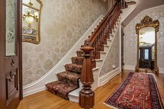 1876 Second Empire For Sale In Glastonbury Connecticut — Captivating Houses Victorian Interiors, Victorian Decor, Victorian Homes, Victorian Stairs, Modern Victorian, Victorian Dollhouse, Glastonbury Connecticut, Fireplace Facade, Brick Fireplaces