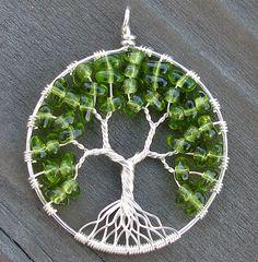 Items similar to Eco-Friendly Tree of Heaven Pendant - Springtime - Peridot Green on Etsy Tree Of Life Jewelry, Tree Of Life Pendant, Wire Jewelry, Jewelry Crafts, Wire Bracelets, Copper Bracelet, Jewellery, Wire Earrings, Earrings Handmade