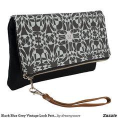 Black Blue Grey Vintage Look Pattern Clutch