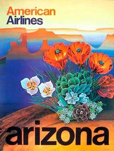 A beautiful and colorful abstract of the Grand Canyon in Arizona - American Airlines Travel Poster. Vintage Travel Posters, Vintage Ads, Vintage Prints, Old Poster, Retro Poster, Retro Airline, Vintage Airline, Arizona Cactus, Arizona Travel
