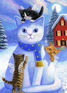 Kittens Cats Angels Fairies Snow Kitty Moon House Original ACEO Painting Art | eBay - Sold for $307 - star-filled-sky