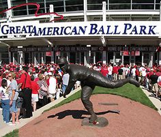 Great American Ballpark - Cincinnati.  The statue is of former Reds pitcher/broadcaster Joe Nuxhall.