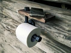 Toilet paper holder with shelf industrial rustic pipe Industrial Toilets, Design Rustique, Drywall Anchors, Rustic Bathroom Designs, Iron Pipe, Toilet Paper Roll, Wood Texture, Rustic Industrial, Plank