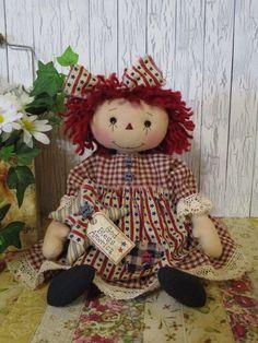 Primitive Raggedy Ann doll Americana dress star ornie stitched face tag OOAK #NaivePrimitive