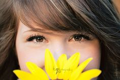 #Senior pics - cool detail shot idea - use a flower or a favorite item and have her peak behind it, focus on her eyes