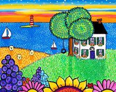 August Sunset Nova Scotia Landscape Print by AliceinParis on Etsy Frida Art, Kids Room Paint, Art Drawings For Kids, Jewish Art, Naive Art, Landscape Prints, Nova Scotia, Painting Inspiration, New Art