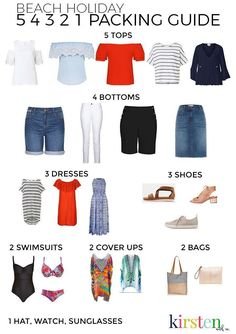 beach travel capsule wardrobe Kirsten and co shares her beach holiday 54321 packing guide. Helpful tips for how to pack for a beach holiday using the method. these simple rules to get an instant beach holiday wardrobe! Beach Vacation Outfits, Beach Holiday Outfits, Beach Vacations, Holiday Clothes, Holiday Beach, Beach Holiday Fashion, Vacation Style, Family Vacations, Family Travel