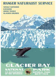 Glacier Bay poster by Steve Thomas Glacier Bay National Park, Us National Parks, Vintage Travel Posters, Vintage Postcards, Poster Vintage, Vintage National Park Posters, Glacier Bay Alaska, Wpa Posters, Retro Posters