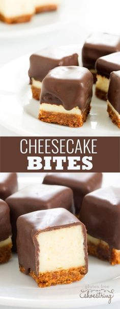 Cheesecake bites are nothing more than little chocolate-covered bites of creamy cheesecake. No special equipment and no water bath needed, since chocolate covers all.(Keto No Baking Cheesecake) Mini Desserts, Just Desserts, Delicious Desserts, Dessert Recipes, Yummy Food, Healthy Food, Plated Desserts, Healthy Hair, Awesome Desserts