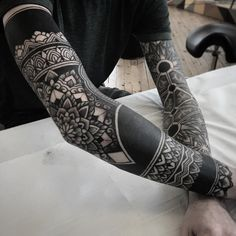 an ornamental tattoo artist, Jack Peppiette was Continue Reading and for more tattoo design → View Website Black Tattoos, Leg Tattoos, Body Art Tattoos, Tribal Tattoos, Tattoos For Guys, Black Work Tattoo, Geometric Sleeve Tattoo, Full Sleeve Tattoos, Tattoo Sleeve Designs