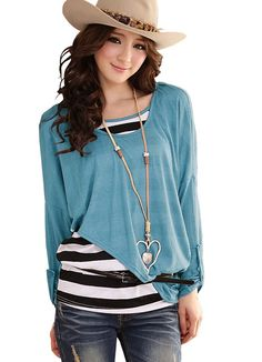 Plus Size Casual Style Ladies Blue Blouses