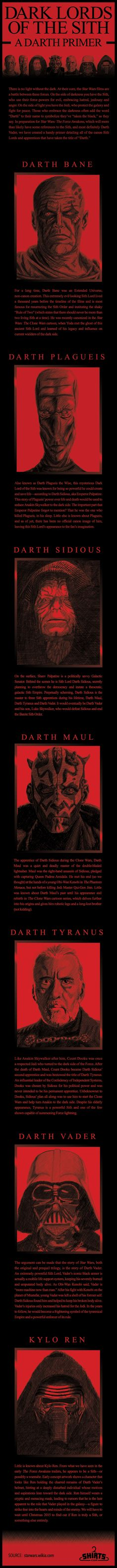 Dark Lords Of The Sith: A Darth Primer [INFOGRAPHIC] | Shirts.com - #starwars #episode7 #theforceawakens