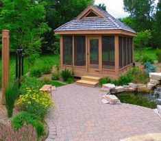 Square screened gazebo with roof
