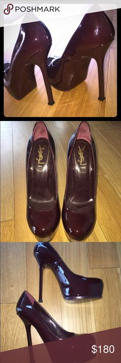 YSL TRIBOO PUMPS 38 Gorgeous patent leather plum YSL heels. Close to perfect condition, just the slightest scuff on the bottom of toe.. The patent leather and heel are flawless. Purchased at intermix for 795 Yves Saint Laurent Shoes Heels