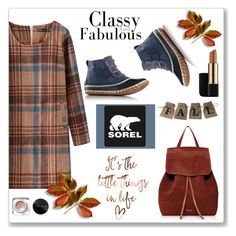 """Kick Up the Leaves (Stylishly) With SOREL: CONTEST ENTRY"" by alinepinkskirt ❤ liked on Polyvore featuring Mansur Gavriel, SOREL, Bobbi Brown Cosmetics, Estée Lauder and sorelstyle"