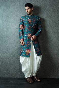 Chanderi silk printed Sherwani with Patiala bottoms from #Benzer #Benzerworld #IndoWesternWear #MensWear