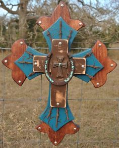 turquoise and brown wood cross with horseshoe and barb wire - country art wall decoration on Etsy.com