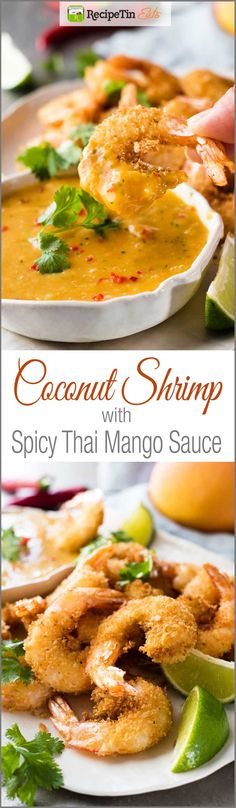 Crunchy coconut shrimp / prawns with a spicy Thai MANGO dipping sauce! This sauce is so scrumptious I want to pour it over everything. And really – you could! O