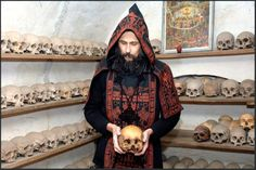Sin is not a moral problem - it is a process of death at work in us. Orthodox monk with those that have passed. Old Time Religion, Russian Orthodox, Orthodox Christianity, Kirchen, Religious Art, Christian Faith, Priest, Occult, Skulls