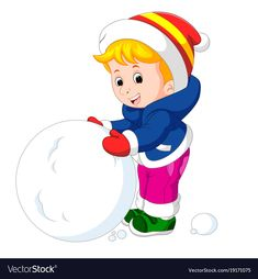 Cartoon kids playing with snow Royalty Free Vector Image