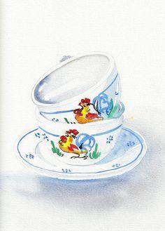 Watercolor Art Painting–Italian Cups...  Pintura en acuarela–Tazas italianas...