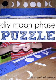 Kids who are learning about the solar system will enjoy this moon phases activity. Make this easy, DIY Montessori-inspired puzzle with poster board at home. Moon Activities, Space Activities, Science Activities For Kids, Kindergarten Science, Montessori Activities, Science Experiments Kids, Science Projects, Classroom Activities, Science Ideas
