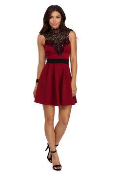 Burgundy Lovely Skater Dress