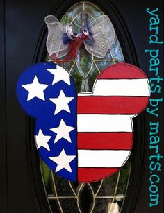 MICKEY mouse flag ears HAPPY 4th of July PATRIOTC summer door hanger sign Decor on Etsy, $29.00