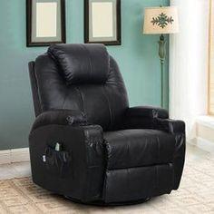 Esright Massage Recliner Chair Heated PU Leather Ergonomic Lounge 360 Degree Swivel (Black) – Home Accessories