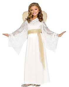 You'll look positively heavenly in this lovely lace angel costume! The angelic look features flowing lace sleeves, shimmering waist sash and a halo headband for a costume that's sure to have everyone singing your praises! Kids Angel Costume, Angel And Devil Costume, Angel Halloween Costumes, Christmas Costumes, Halloween Kids, Christmas Pageant, Childrens Angel Costume, Nativity Costumes, Halloween Pictures