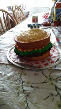 Son's hamburger birthday cake