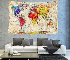 Rustic golden brown world map tapestry boho world map wall decor multi color world map tapestry boho world by christinedecorshop gumiabroncs Images