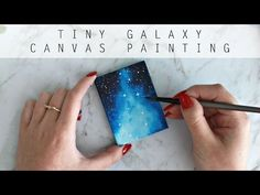 Mini Galaxy on Canvas | Watercolor and Gouache | Speed Painting | artbybee7 | - YouTube