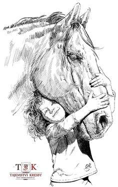 Dívka a kůň (Girl and horse) – Classic Cars Pencil Drawings Of Animals, Horse Drawings, Animal Sketches, Drawing Sketches, My Drawings, Horse Sketch, Globe Art, Horse Artwork, Cowboy Art